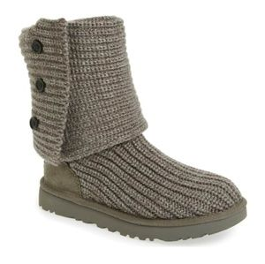UGG Classic Cardy Knit Boot Charcoal 6 Womens
